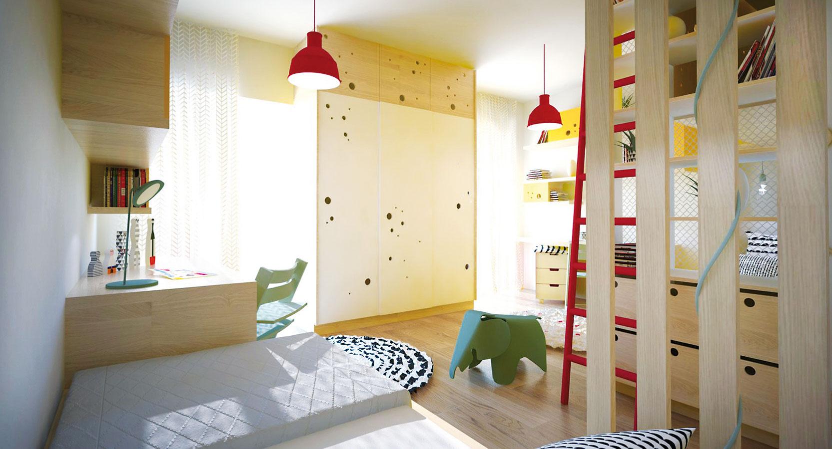Šatníková skriňa medzi oknami má slúžiť obidvom deťom, stojí na hranici izby, takže ju opticky rozdeľuje.
