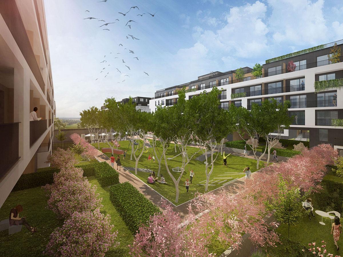 Vnútrobloky bytových domov v zóne Mesto sú naprojektované ako oázy zelene a oddychu.