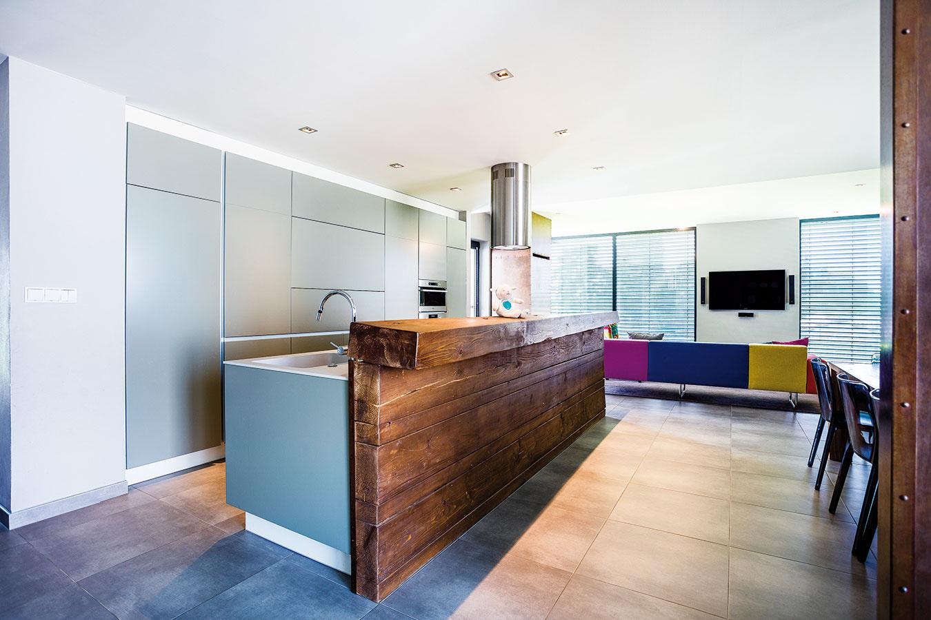Požiadavkou majiteľov boli nízke nároky na údržbu domu. Toto ich prianie rieši množstvo nenápadných  a absolútne praktických úložných priestorov. Sivá kuchynská linka je napríklad navrhnutá tak, aby skryla všetky  nevyhnutné spotrebiče.