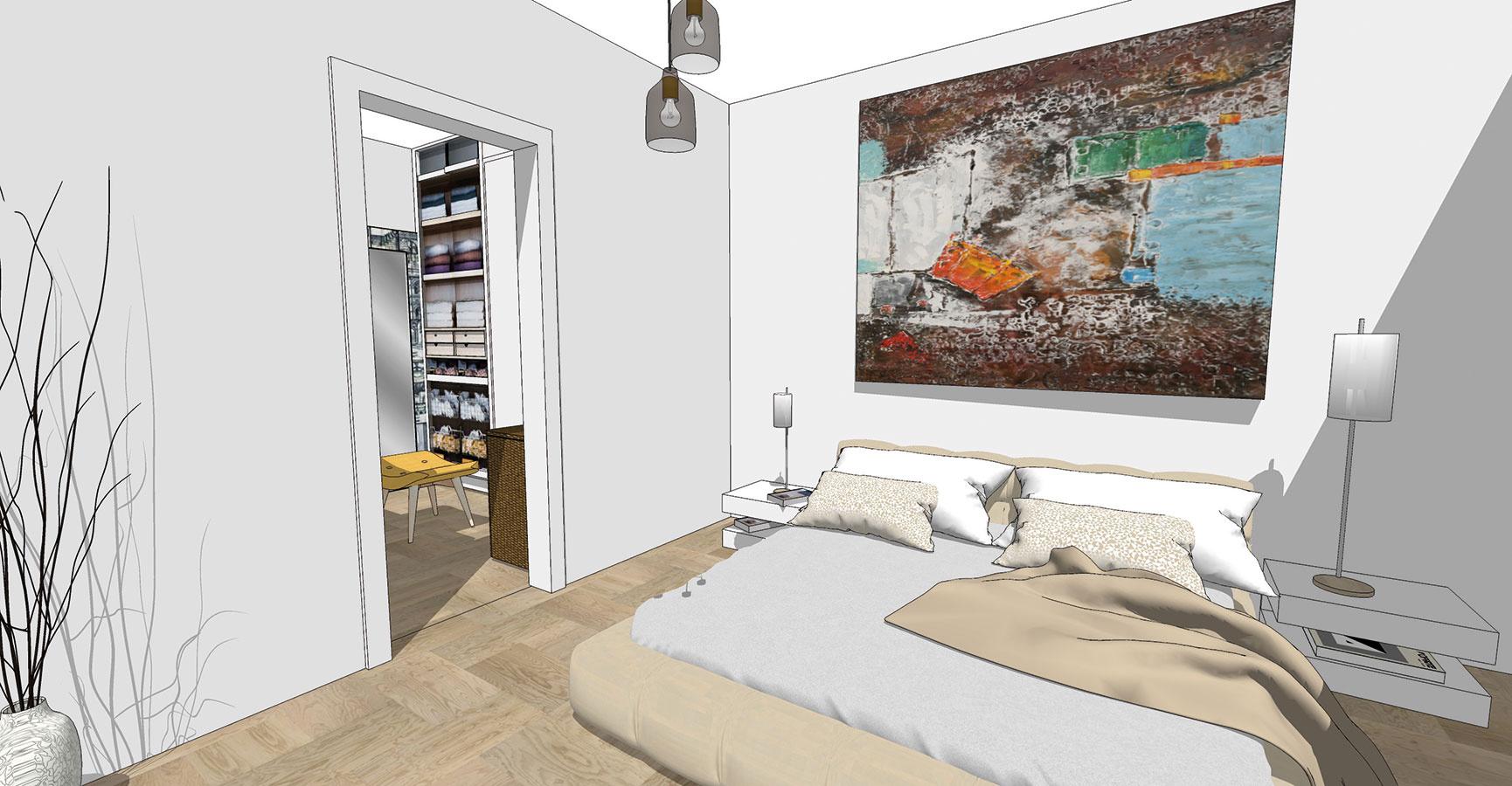 Priame napojenie na šatník je vspálni vítaným riešením. Ak je zariadená vbielych asvetlých farbách, zaujímavým akcentom môže byť výraznejšia grafika alebo pestrejší obraz umiestnený na stene za posteľou.