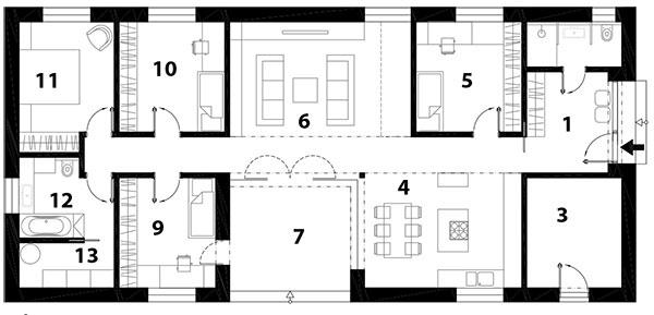 Pôdorys 1 predsieň 2 kúpeľňa 3 sklad 4 kuchyňa a jedáleň 5 hosťovská izba 6 obývačka 7 átrium 8 chodba 9 detská izba 10 detská izba 11 rodičovská spálňa 12 kúpeľňa 13 technická miestnosť