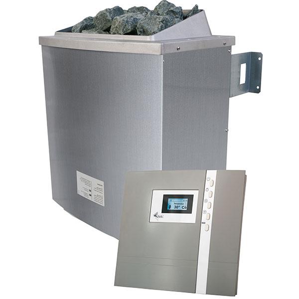 Špeciálne saunové kachle sú dodávané aj s náplňou lávových kameňov. Na snímke model 9 kW s externým ovládacím panelom, ktorý sa inštaluje na vonkajšiu stenu kabíny.