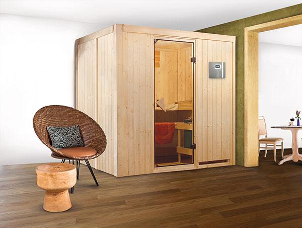 196 x 151 cm je podlahový rozmer sauny s menom Suuvi. Inými slovami sa tento model ľahko vojde napríklad aj do menšieho bytu.