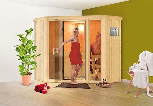 Model Flora 1, ktorý je možné umiestniť do rohu miestnosti. Presklené okná po oboch stranách dverí pôsobia prívetivo a vzdušne.