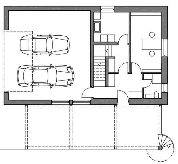 Pôdorys prízemia Viac než polovicu prízemia zaberá garáž, ktorá slúži zároveň ako dielňa. Vdruhej časti je malá vstupná hala, kancelária atechnické miestnosti.