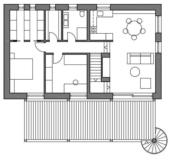 Pôdorys poschodia Na poschodí sa odohráva rodinný život. Je tu otvorená obývačka spojená skuchyňou ajedálňou, po niekoľkých schodíkoch sa vystúpi do zvýšenej časti so spálňou, hosťovskou izbou, šatníkom akúpeľňou.