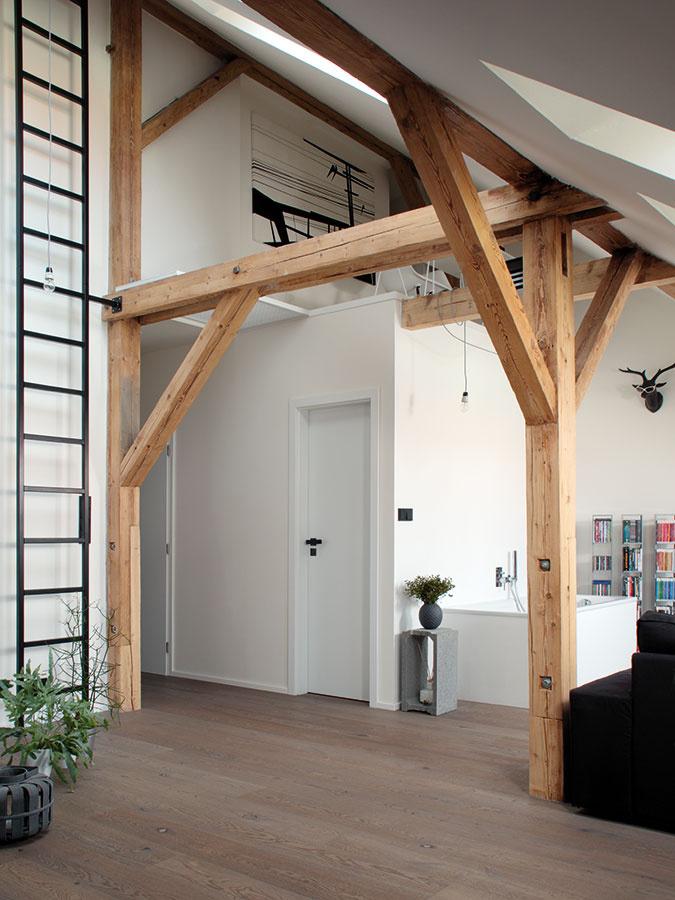 Priestorové hry. Architektka Klára Valová dokázala vyťažiť zkomplikovaného priestoru maximum. Po odkrytí celej výšky podkrovia sa nad kúpeľňou našlo miesto na malú pracovňu aodkladací priestor za komínom.