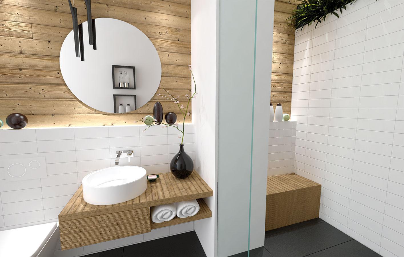 V druhom variante je použité impregnované masívne drevo v podobe nástenného obkladu, ktorý plynulo prechádza aj do sprchového kúta.