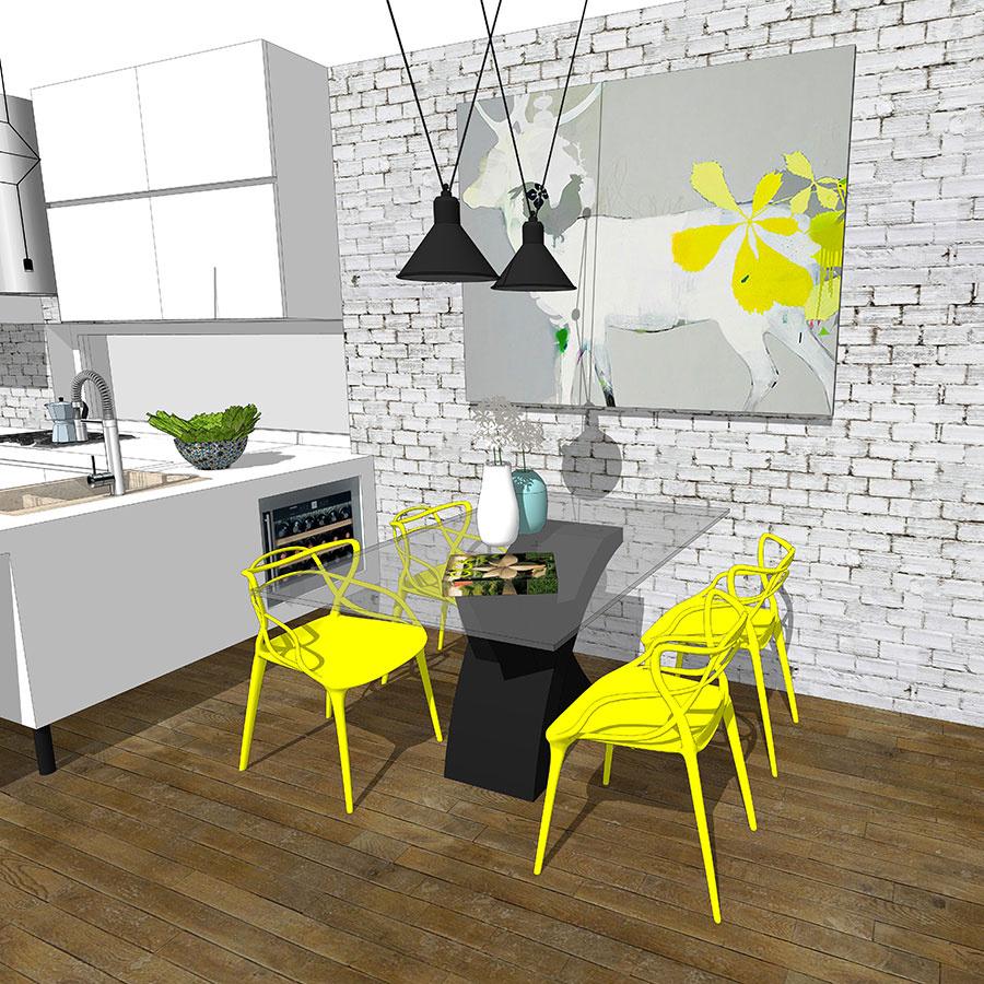 Žltá farba pozitívne vplýva na náladu človeka, preto je jej uplatnenie vjedálni, kde pri raňajkách mnohí začínajú deň, žiaduce. Vítané je, ak sa rovnaká farebnosť objaví aj na niektorom ďalšom zariaďovacom prvku. Hravé stoličky vtomto prípade dopĺňa obraz sdetailom rovnakej farby (študentská práca).