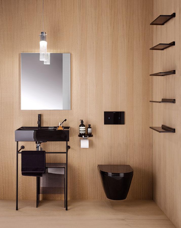 Čierny elegán. Kolekciu Pro S od značky Laufen tvorí systém kúpeľňového nábytku a keramiky, pričom nedávno ju doplnilo aj závesné bezokrajové WC s hlbokým splachovaním. V ponuke nájdete nielen hranatú verziu, ale aj oblú (s výklenkom v zadnej časti), doplnenú extra plochým sedadlom Laufen pro slim. Dostupné sú aj v bielej farbe. (Predávajú Kúpeľne Ptáček.)