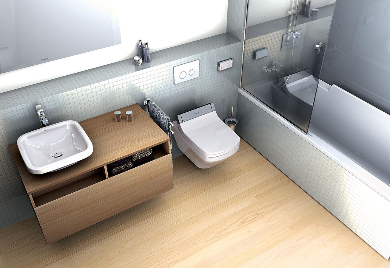 Dizajn a funkčnosť. Spojením bezokrajovej toalety a sedadla SensoWash od spoločnosti Duravit vzniká sprchovacie WC SensoWash DuraStyle e. Celý systém možno obsluhovať pomocou ovládača – zdvíhanie a podkladanie veka a sedadla, nastavenie teploty sedadla, bidetové funkcie (sprcha, komfortná sprcha, lady-sprcha). Nechýba nočné podsvietenie, detská poistka a tlačidlo na rýchlu demontáž sedadla.