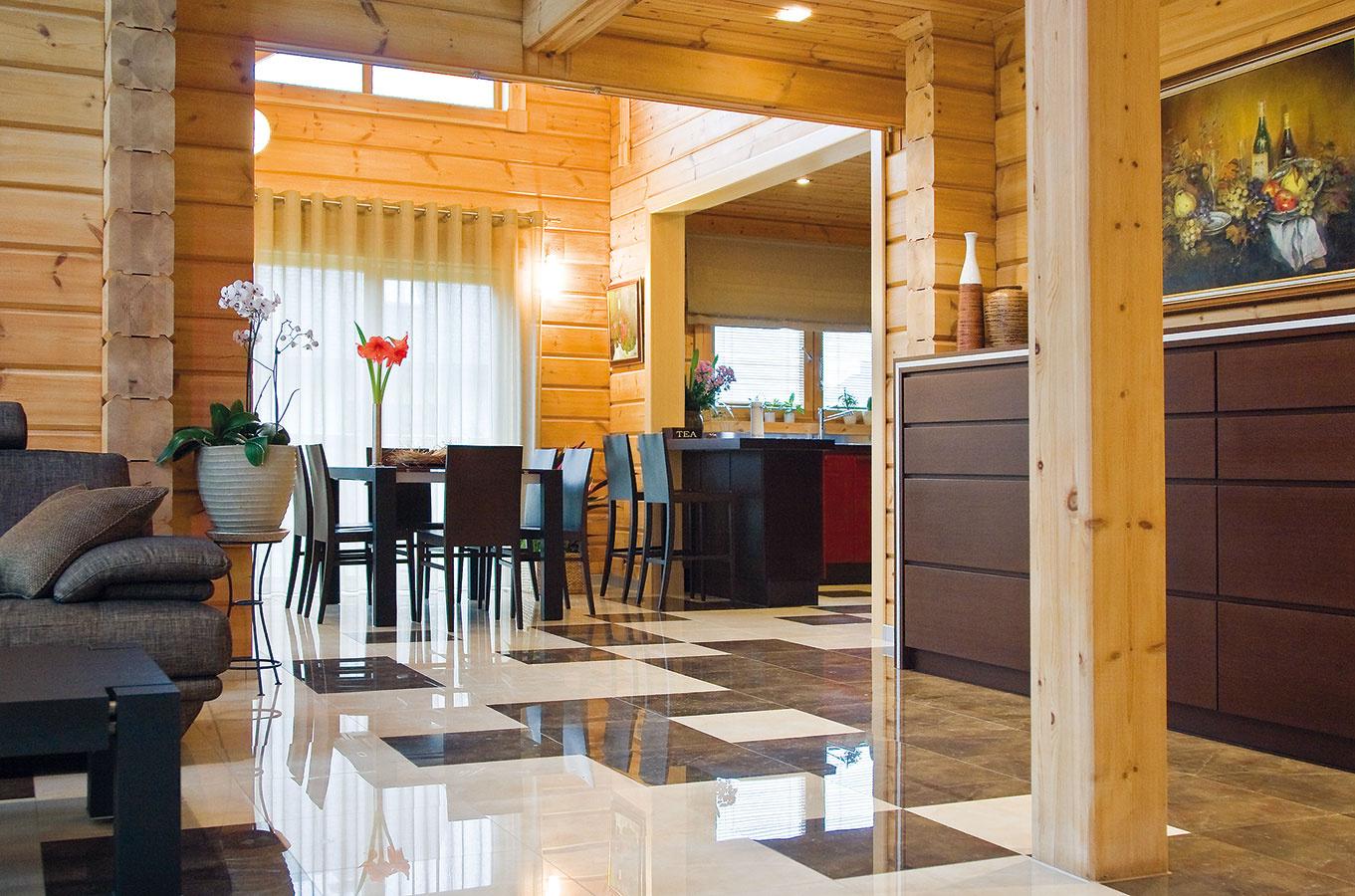 Interiér moderného zrubového domu