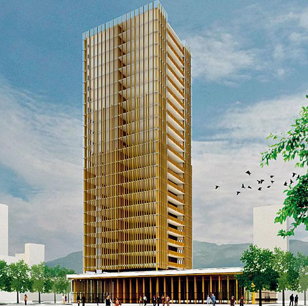 Návrh 30-podlažnej budovy zdreva voVancouvri od architekta Michaela Greena (zdroj: constructiondatacompany.com)