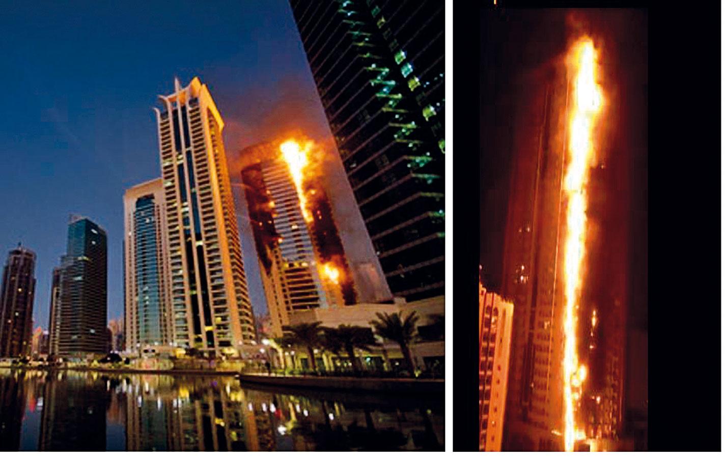 Požiar 34-poschodovej výškovej budovy vDubaji, Spojené arabské emiráty