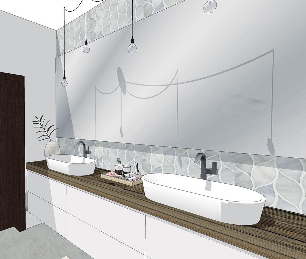 Centrálne osvetlenie kúpeľne by malo dopĺňať samostatné osvetlenie zrkadla pri umývadle. Použiť tu možno napríklad aj retro žiarovky visiace na dlhých kábloch (študentská práca).