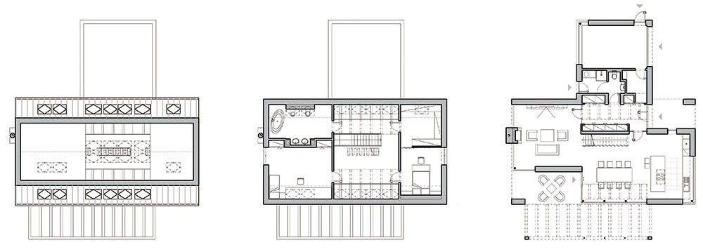 """Požiadavku na jednoduchý tvar splnili architekti vďaka kompaktnej prízemnej hmote s obdĺžnikovým pôdorysom s rozmermi 9 × 15,5 m, do ktorej je """"zasunutý"""" kváder garáže. Strechu navrhli sedlovú bez presahov, so sklonom 55° a s výškou hrebeňa 10 m."""