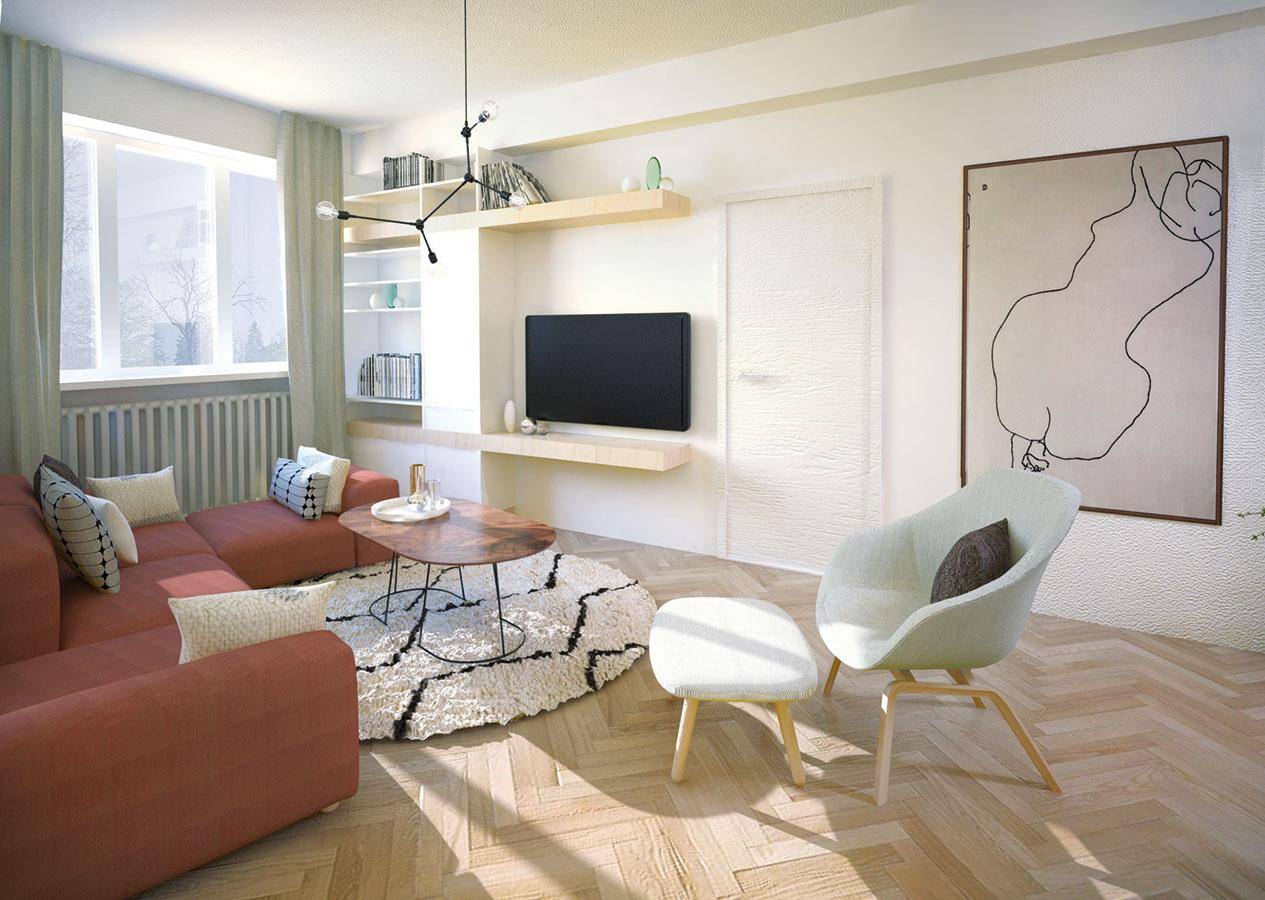 TV stena na mieru prepája rôzne výšky – vďaka nepravidelným výškam políc, otvorených a uzavretých častí umožňuje majiteľke uskladniť takmer čokoľvek.