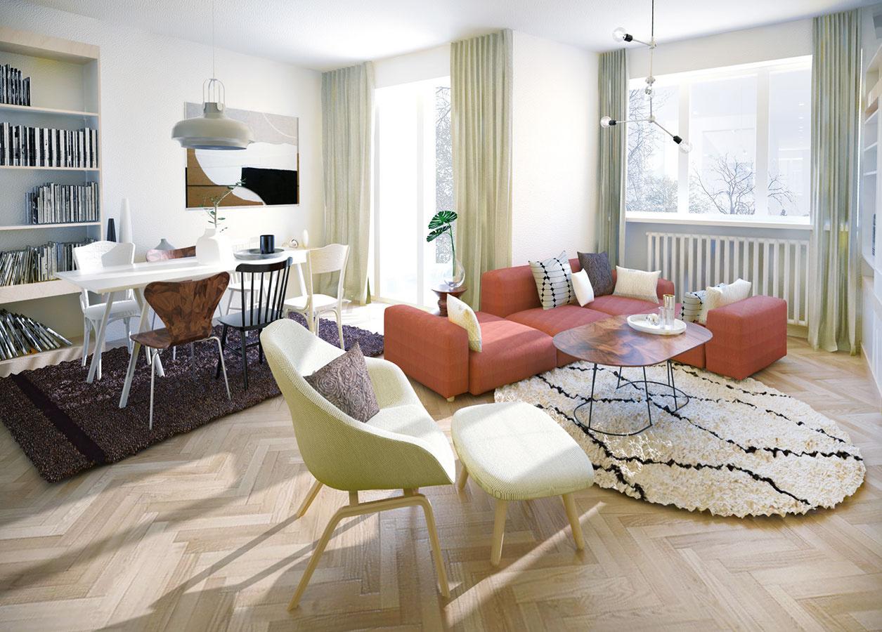 Pôvodné dubové parkety vo výbornom stave stačí len zbrúsiť. Takáto podlaha je výnimočne nadčasová, a preto má zmysel ju zachovať.