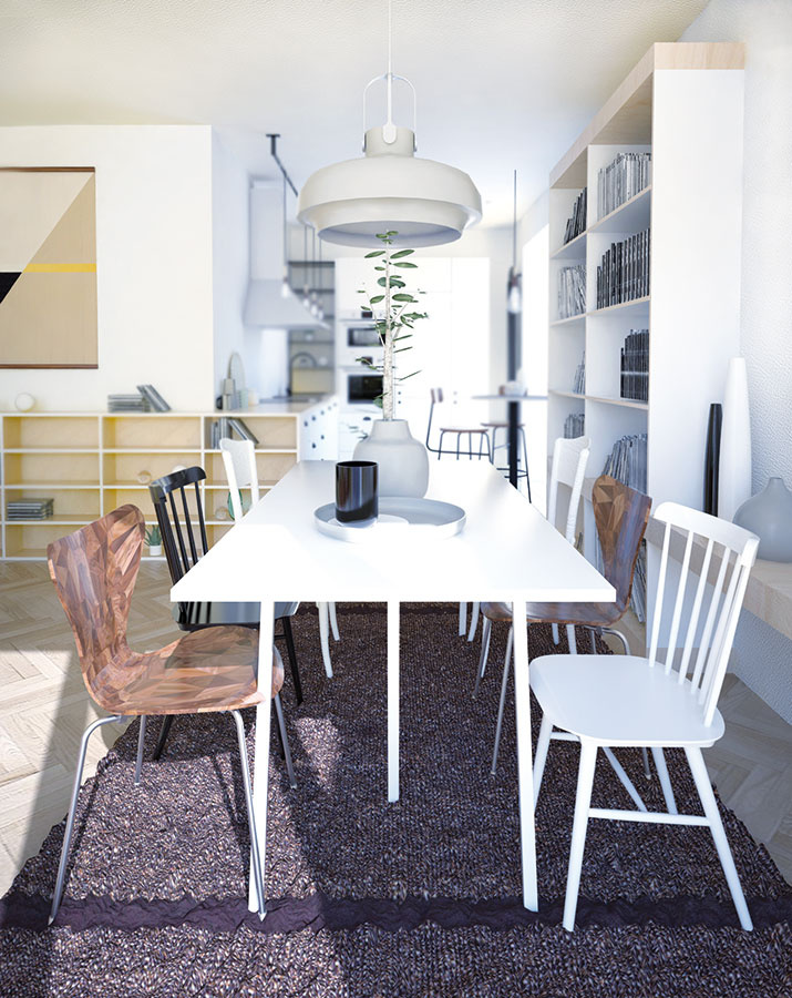 Jedálenské stolovanie kombinuje pôvodné a nové stoličky a jednoduchý biely laminátový stôl, ktorý vďaka odolnému povrchu poslúži aj ako pracovný.