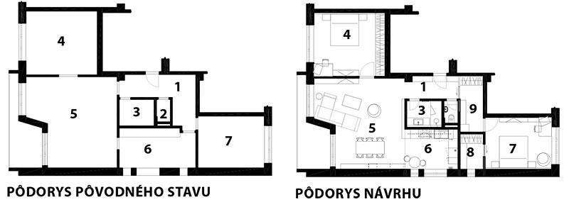 Legenda 1 chodba 2 WC 3 kúpeľňa 4 spálňa 5 obývacia izba 6 kuchyňa 7 Izba 8 šatník 9 sklad