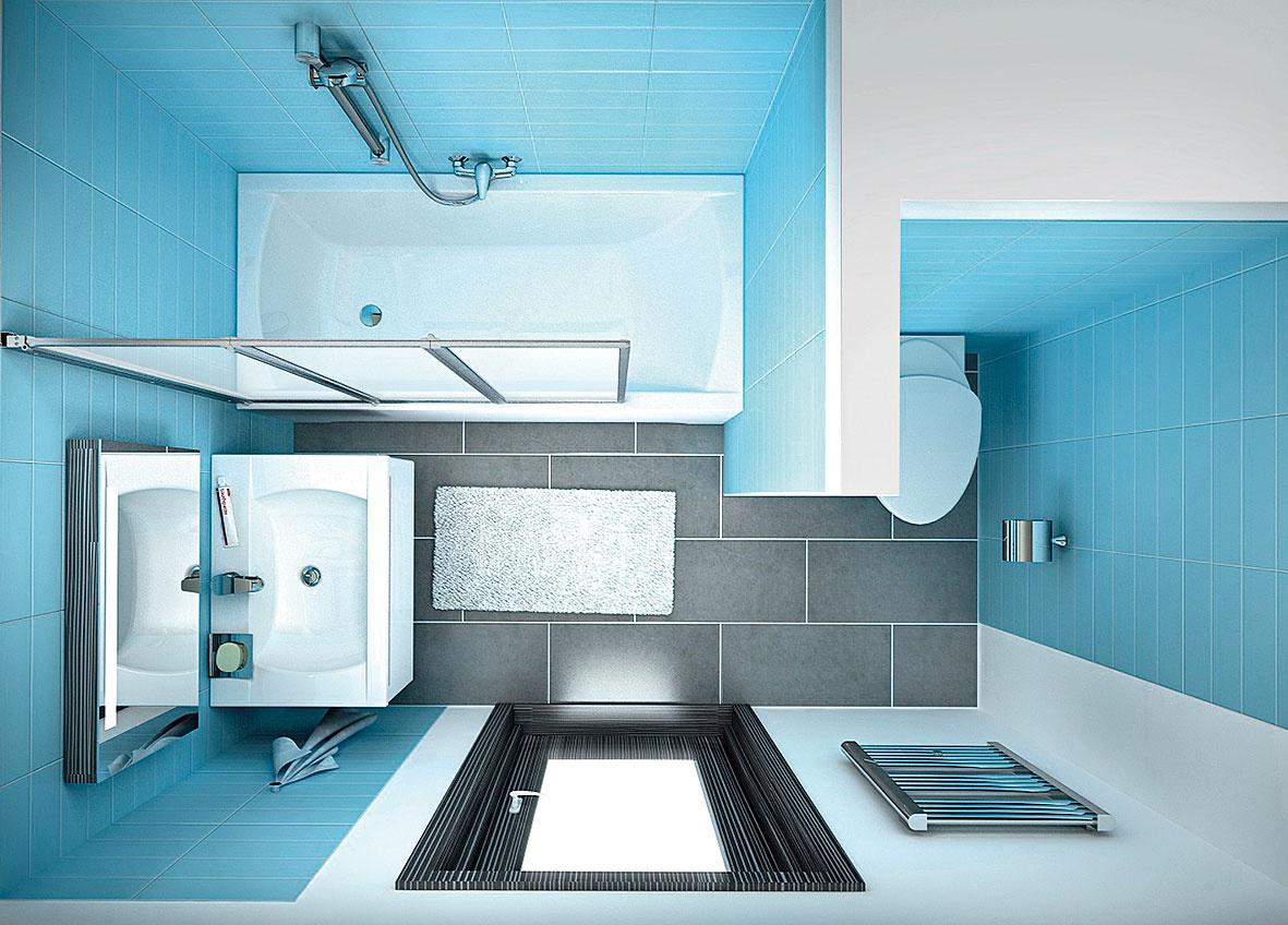 Pri hľadaní vhodného dispozičného riešenia malej panelákovej kúpeľne sa môžete inšpirovať aj vizualizáciami kúpeľňových štúdií avýrobcov. Výhodou je, že niektorí znich už ponúkajú ucelené systémy určené špeciálne do takýchto malých priestorov. (vizualizácie: Ravak)