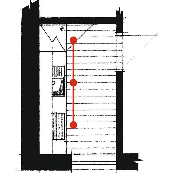 Priama (lineárna) Je vhodná do menších domácností. Obsahuje len najnutnejšie úložné prvky amôžu ju využívať jedna alebo dve osoby súčasne. Ak má takto usporiadaná kuchyňa fungovať plnohodnotne, zóna pri stene musí byť dlhá aspoň 3 m bez prerušenia aširoká minimálne 1,7 m. Vtakejto kuchyni sa odporúča naplno využiť všetok dostupný priestor – siahnuť po vstavaných spotrebičoch amať tak čo najväčšiu pracovnú plochu.