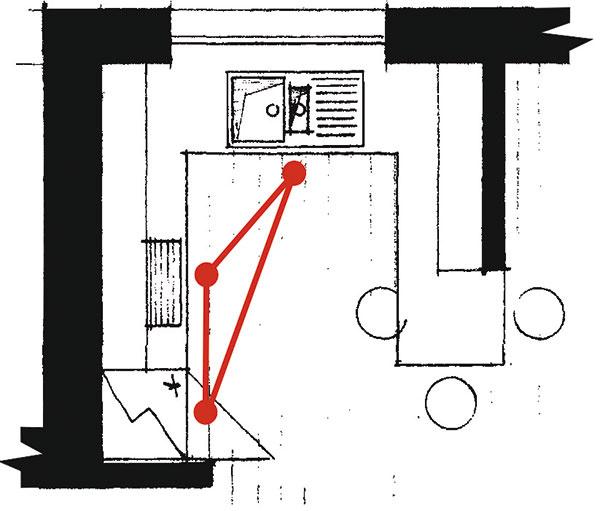 Polostrovná Táto dispozícia vychádza zrohovej zostavy pridaním ďalšieho ramena avotvorenom priestore vytvára tvar písmena T alebo G. Ide vpodstate oďalší spôsob vytvorenia celistvej kuchynskej plochy vo veľkej kuchyni. Predĺžením pracovnej dosky získate napríklad miesto, ktoré možno využiť ako jedálenský pult. Takáto dispozícia opticky predeľuje miestnosť na pracovnú aobývaciu časť amožno ju dokonca využiť zoboch strán.