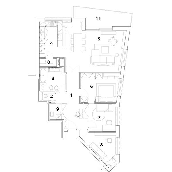 Pôdorys bytu 1 chodba 2 WC 3 kúpeľňa 4 kuchyňa 5 obývačka 6 spálňa 7 detská izba 8 pracovňa 9 technická miestnosť 10 komora 11 terasa