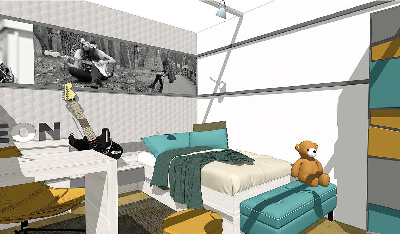 Zaujímavou možnosťou spestrenia interiéru sú rôzne tapety s3D vzorom, prípadne rozmanité panely. Moderné materiály, zktorých sú zhotovené, sú veľmi tvárne ačasto vhodné aj do namáhaných priestorov (študentská práca).