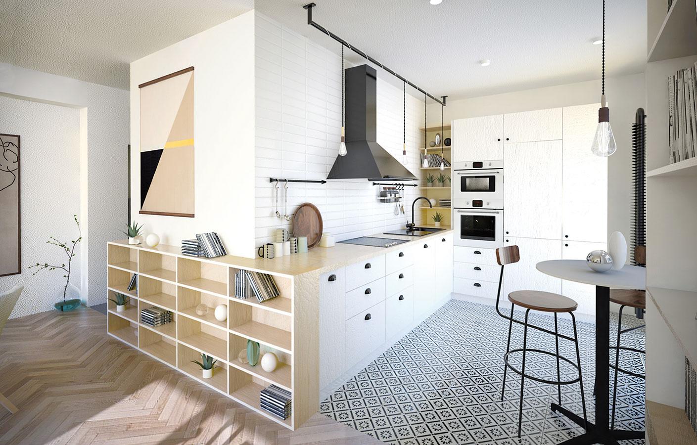 Kuchynská linka plynulo nadväzuje na plytkú policovú stenu vobývacej časti. Tá môže slúžiť ako doplnková knižnica alebo ako príborník, ak by sa uzavrela dvierkami.
