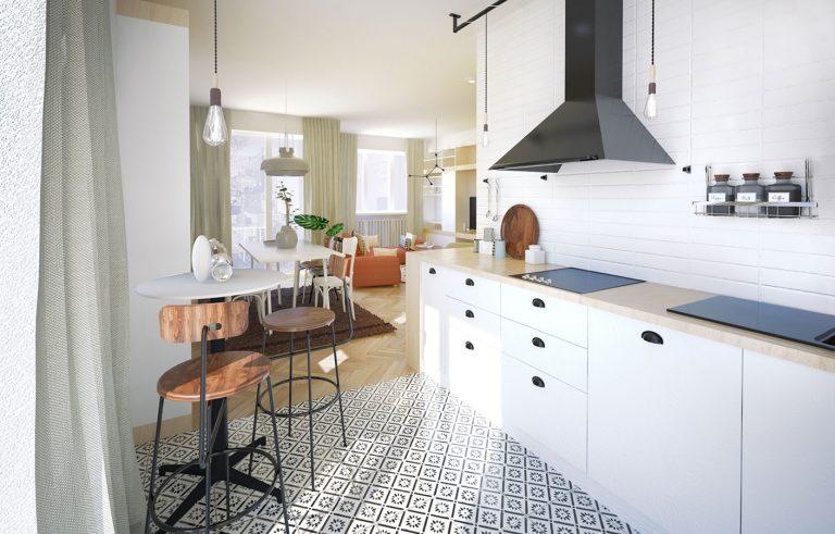 Čo s priechodnou kuchyňou bez jedinej súvislej steny, ktorú nemožno prakticky zariadiť?