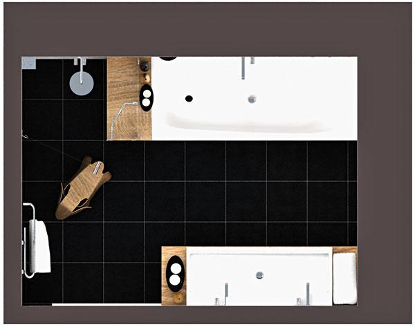 Keďže v kúpeľni už boli čerstvo vybudované vývody, neponúkal priestor veľké možnosti na hru s dispozíciou. Umiestnenie skrinky s dvojumývadlom, vane a sprchového kúta je preto v oboch variantoch totožné.