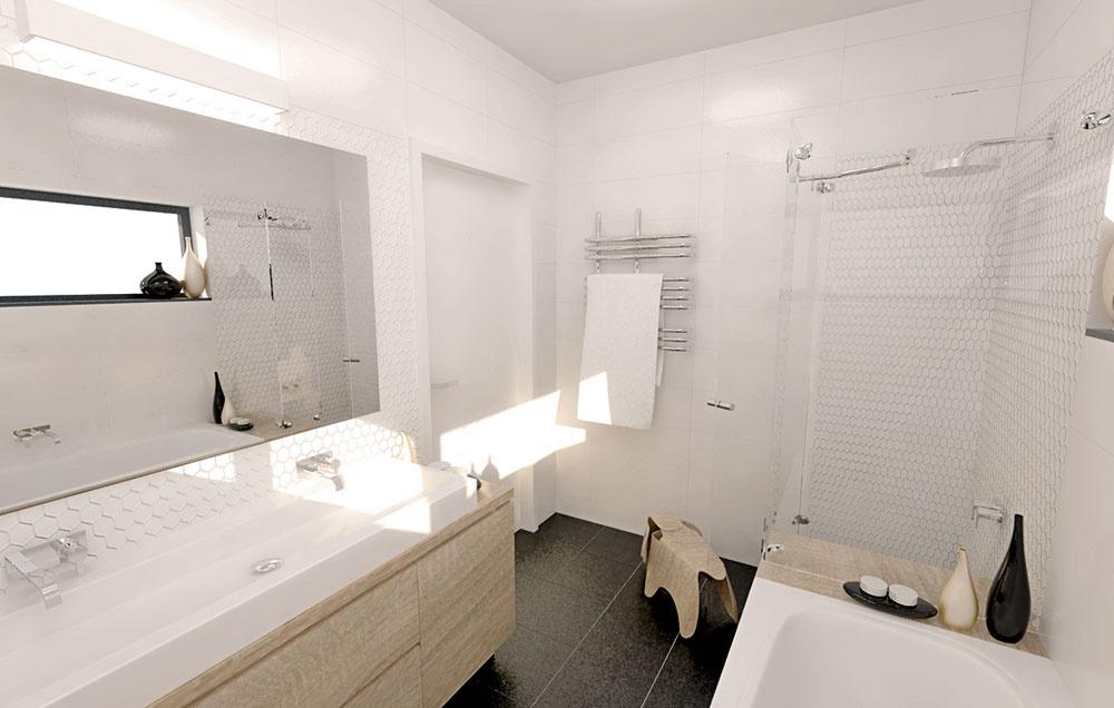 Veľké zrkadlo bez rámu nalepené na stene zaumývadlom priestor opticky zväčšuje.