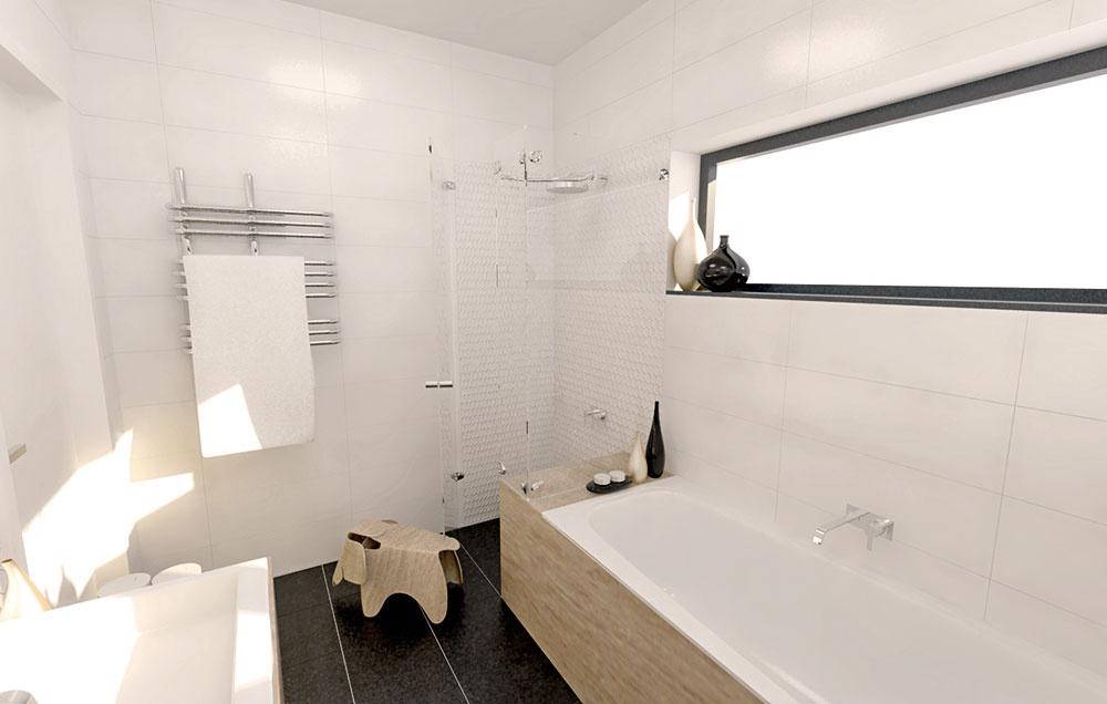 Akrylátová časť okolo vane sa potiahla až do susediaceho sprchového kúta. Slúžiť môže ako praktická polica na odloženie všetkých kozmetických nevyhnutností alebo sa na ňu dá vprípade potreby aj sadnúť.