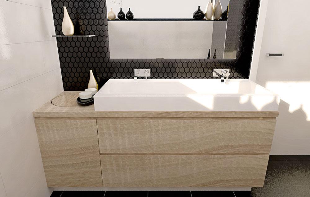 Umývadlo aj zrkadlo sú vprípade druhého variantu posunuté napravo – úplne kdverám – apod ním sú dve zásuvky. Naľavo od umývadla je ako súčasť kúpeľňovej skrinky riešený aj želaný otvor na zhadzovanie.
