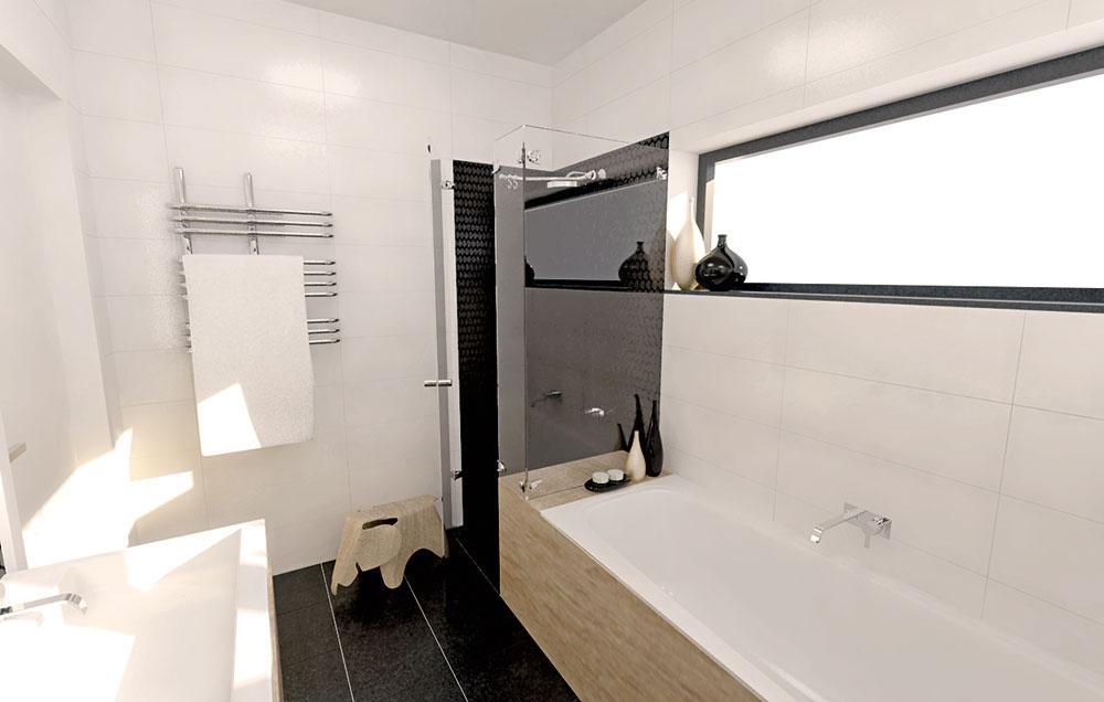 Celosklenený sprchový kút priestor opticky odľahčuje. Súprava sručnou ahornou sprchou sa zase postará okomfort pri sprchovaní. Použitie mozaiky namiesto tradičnej dlažby vnáša do priestoru dynamiku apríjemnú hravosť.