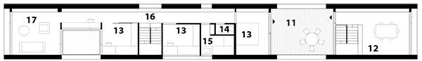 Pôdorys poschodia 11 terasa 12 zasadacia miestnosť 13 spálňa 14 WC 15 kúpeľňa 16 chodba 17 obytný priestor, herňa