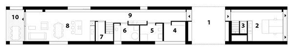 Pôdorys prízemia 1 krytý vstup 2 grafické štúdio 3 WC 4 šatník 5 kúpeľňa 6 technická miestnosť 7 komora 8 obývačka skuchyňou ajedálňou 9 chodba 10 terasa