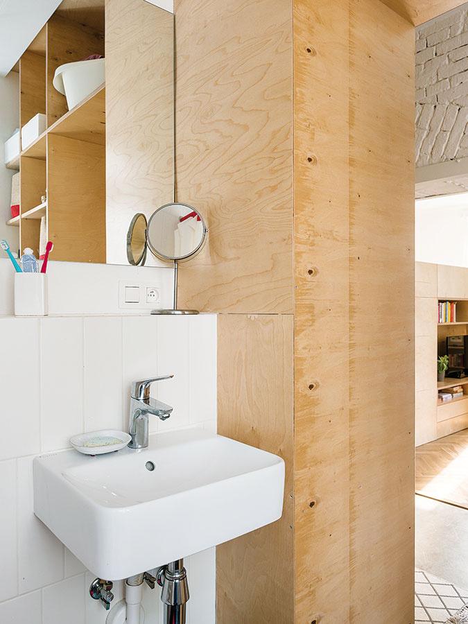 Vstavaný nábytkový prvok, ktorým architekti nahradili priečku medzi kuchyňou akúpeľňou, poskytol na oboch stranách množstvo cenných odkladacích plôch.