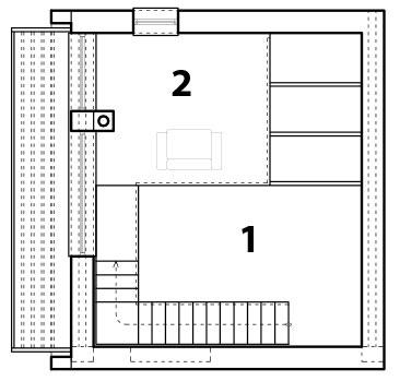 Pôdorys poschodia 1 voľný priestor 2 galéria – pracovňa