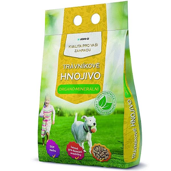 Organo-minerálne hnojivo od výrobcu Agro CS, ktoré vydrží v trávniku až dva mesiace. Možno zakúpiť vo všetkých predajniach Mountfieldu. Cena za 3 kg balenie 2,10 €.