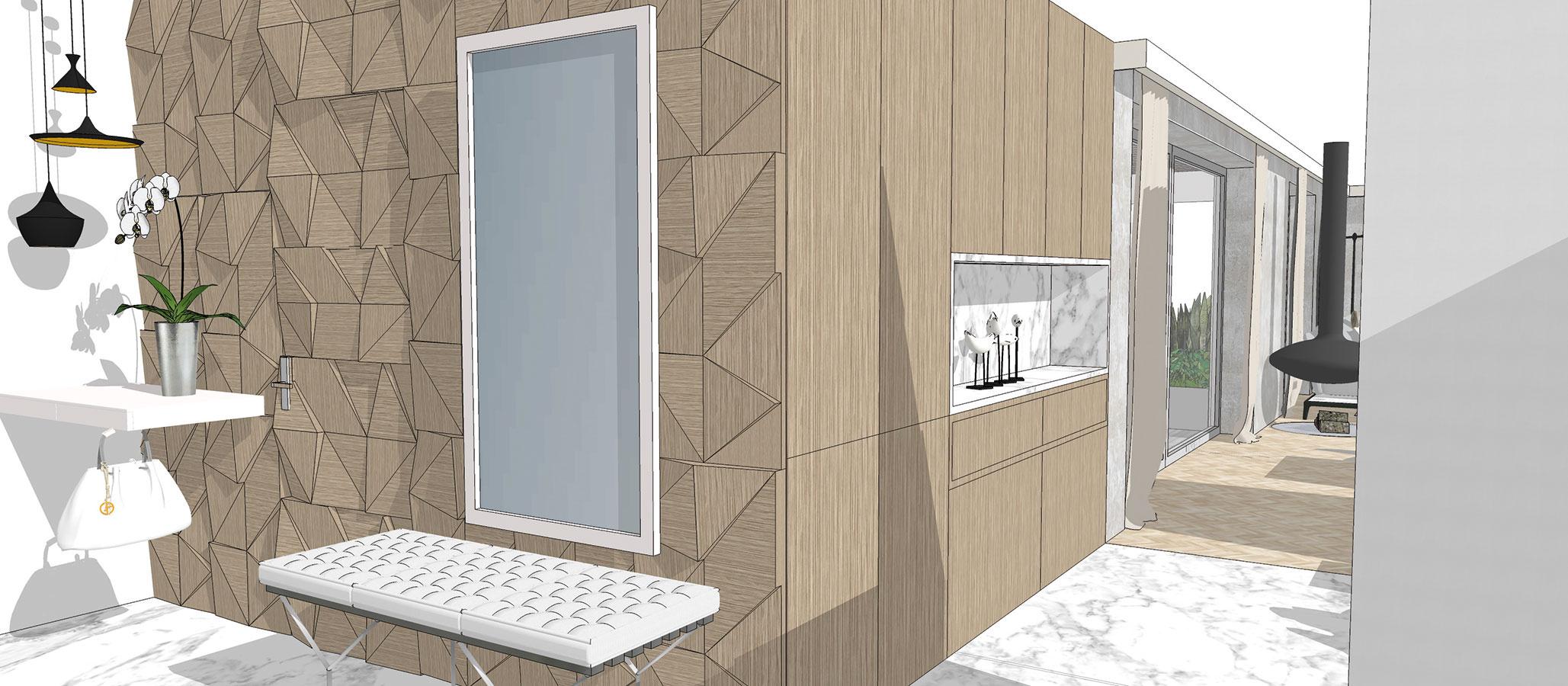 Tradičný náter stien alebo vsúčasnosti čoraz populárnejšie tapety môžete nahradiť napríklad plastickým obkladom. Ak ho použite aj na dvere, priestor opticky zjednotíte (študentská práca).