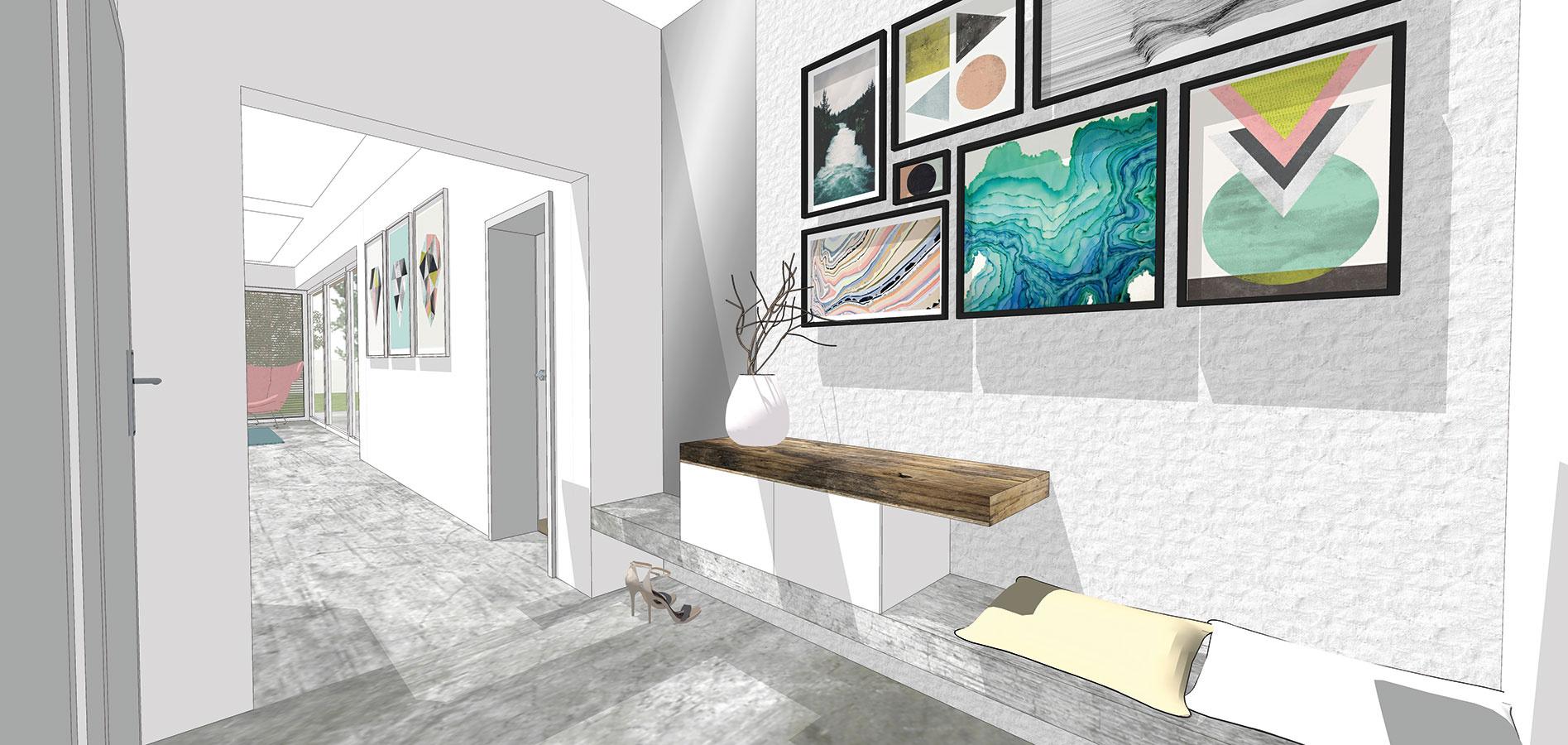 Na mieru vyrobený nábytok je vhodnou voľbou najmä do malých predsiení aoceníte ho aj vprípade, ak ponuka kamenných predajní ae-shopov nenapĺňa vašu predstavu. Jednoduchá drevená doska zabudovaná do steny poslúži na odkladanie aj sedenie. Môžete na ňu osadiť menšie skrinky spredĺženým pultom (študentská práca).