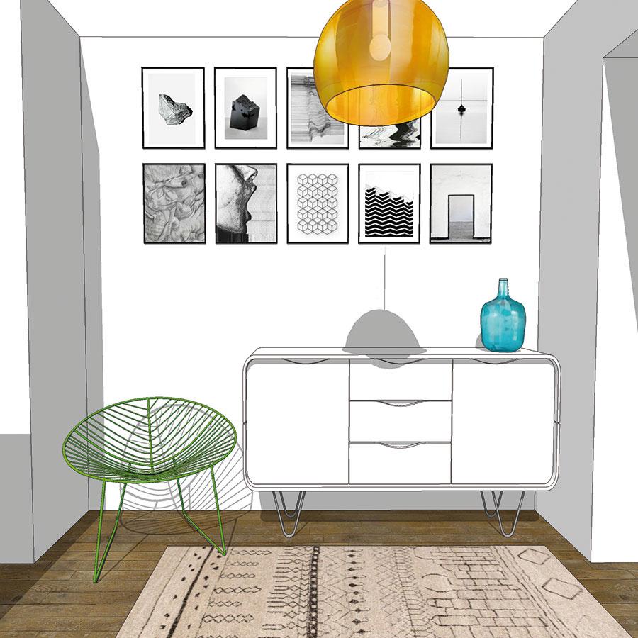 Vstupné priestory nemusia hýriť všetkými farbami, zaujímavý akcent sa ale pýta aj tu. Ideálnym riešením je, ak stavíte na doplnky – dekoratívne predmety, tienidlo svietidla alebo aj stoličku. Živšie farby vás po príchode domov príjemne naladia (študentská práca).