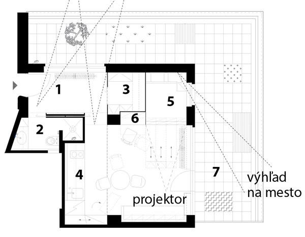 Pôdorys návrhu 1 zádverie 2 kúpeľňa stoaletou 3 šatník 4 obytný priestor skuchyňou ajedálenským sedením 5 spací kút 6 pracovisko 7 terasa