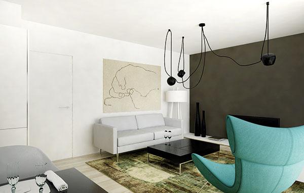 Dizajnové svietidlo vobývacej izbe farebne aj tvarovo kontrastuje stým kuchynským. Jeho úlohou je osvetliť priestor rovnomerne, čo je vtomto prípade vhodnejšie ako výber bodového lustra.