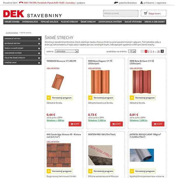 Stavebniny DEK na eshope - moderný nákup stavebných materiálov