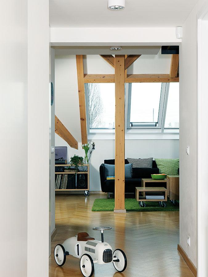 Čaro podkrovného priestoru ešte väčšmi umocňuje sústava troch strešných okien, ktoré dennú časť pekne presvetľujú, avneposlednom rade priznané drevené trámy.