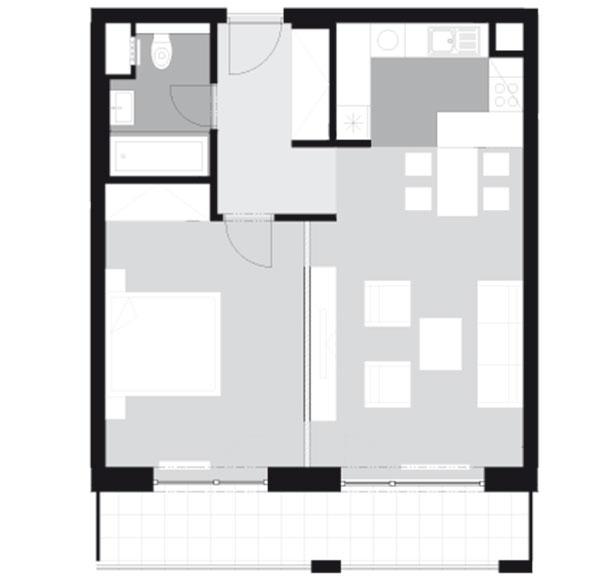 Pôdorys dvojizbového bytu spodlažnou plochou 62,35 m2 (vrátane balkóna)