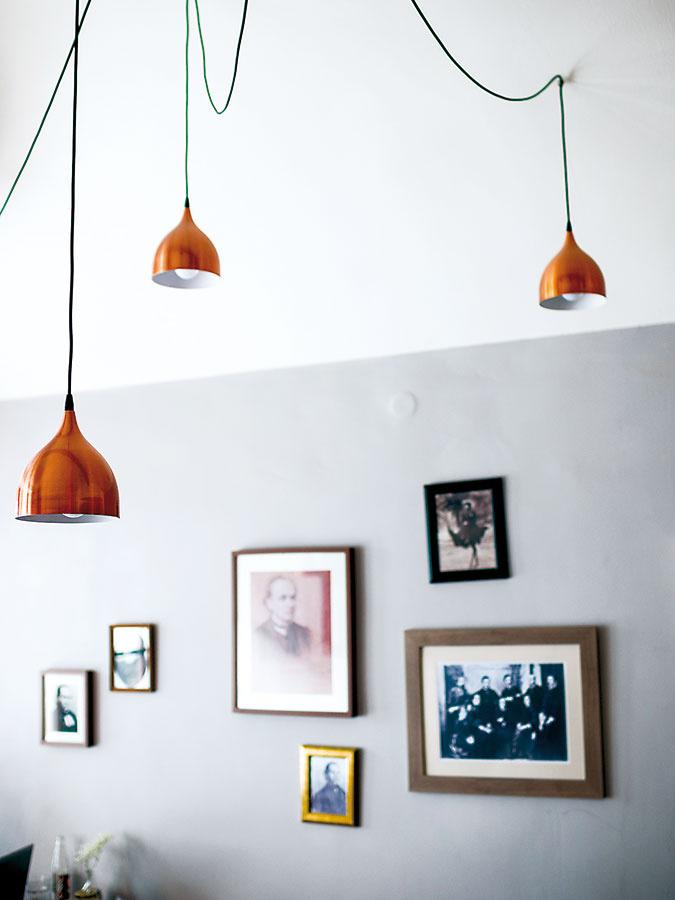 Svietidlá vcelej kaviarni odzrkadľujú aktuálne trendy, priestor dekorujú asúčasne ozvláštňujú. Vprvej miestnosti majitelia zvolili modely smedenými tienidlami, ktoré svojím rozmiestnením pripomínajú pavúčie nohy.